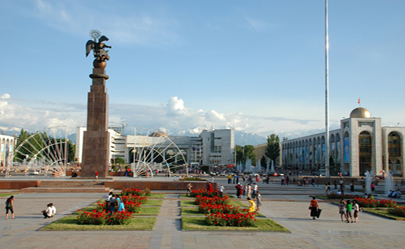 The main square of capital - The main Square Ala-Too devoted independence of Kyrgyzstan in the city of Bishkek